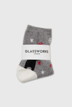 Load image into Gallery viewer, Grey snow slide black bear xmas socks2