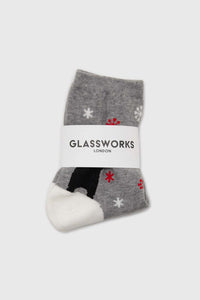 Grey snow slide black bear xmas socks2