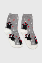 Load image into Gallery viewer, Grey snow slide black bear xmas socks3