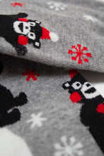 Load image into Gallery viewer, Grey snow slide black bear xmas socks4