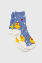 Load image into Gallery viewer, Blue snow slide chick xmas socks1