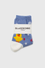 Load image into Gallery viewer, Blue snow slide chick xmas socks2