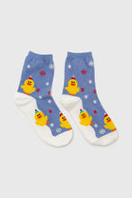 Load image into Gallery viewer, Blue snow slide chick xmas socks3