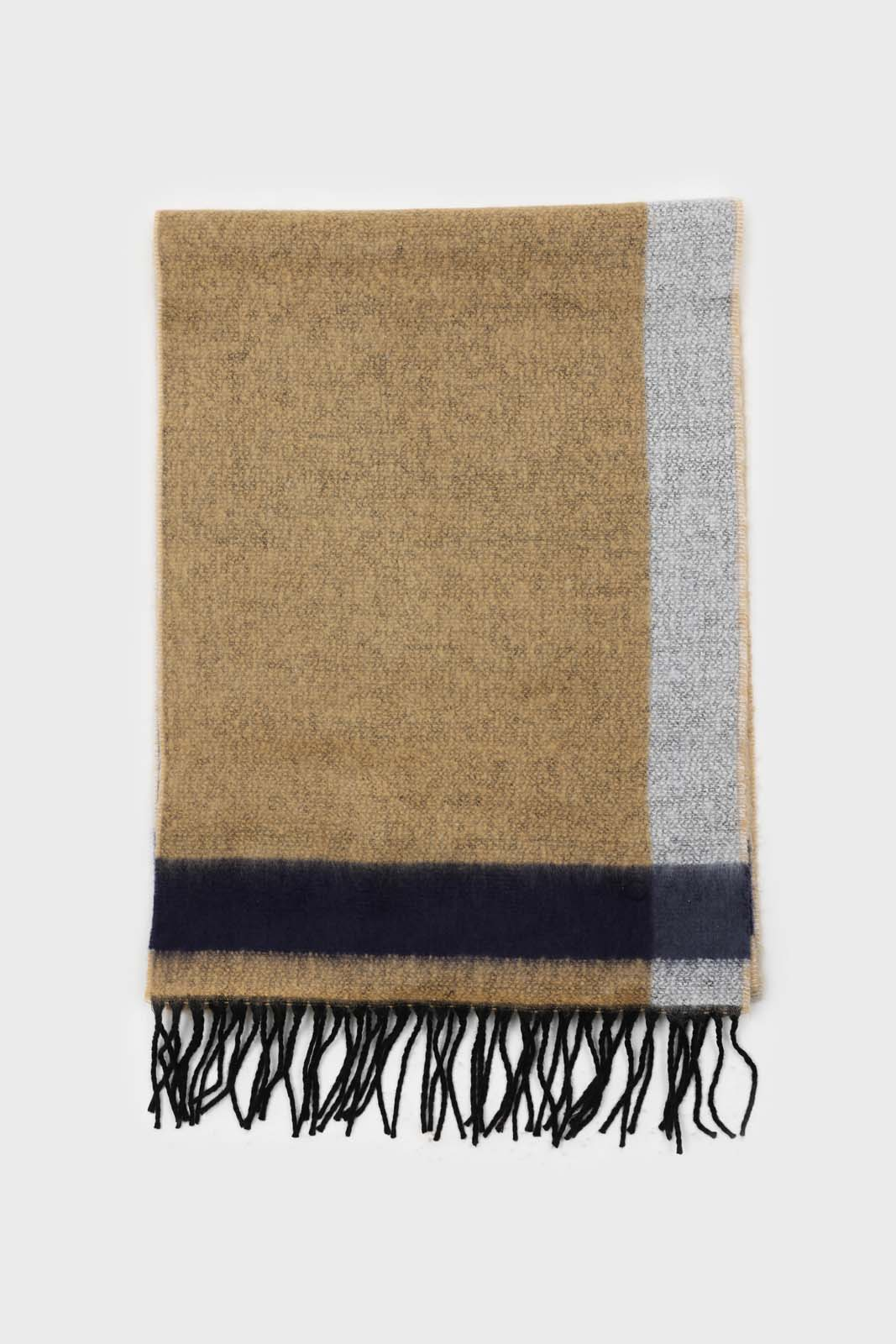 Mustard and charcoal contrast block fringe scarf2