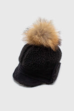 Load image into Gallery viewer, Black teddy pom pom cap1