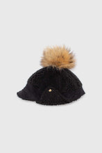 Load image into Gallery viewer, Black teddy pom pom cap2