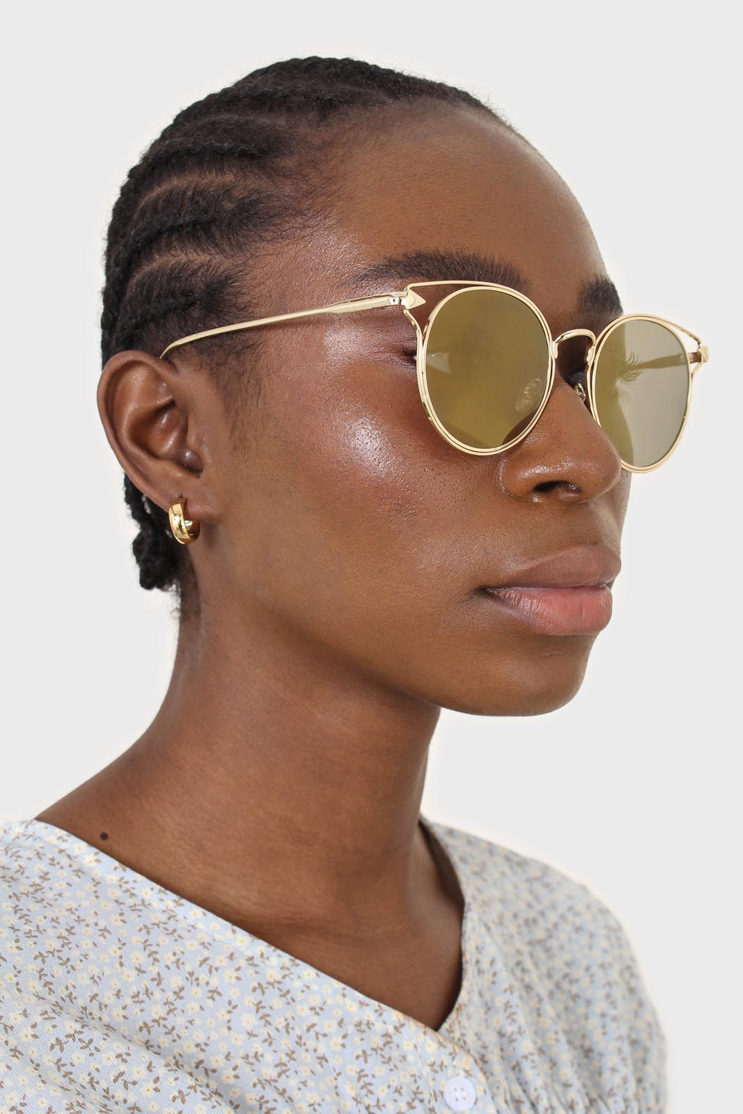 Gold wire rim peek side cateye sunglasses2