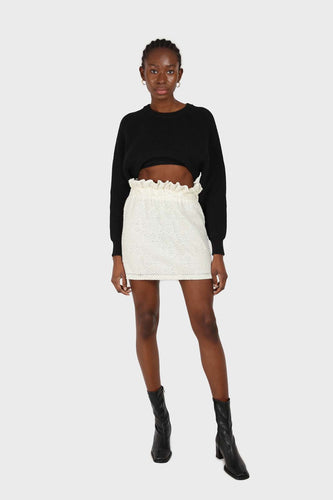 Ivory ruched waist eyelet mini skirt1sx