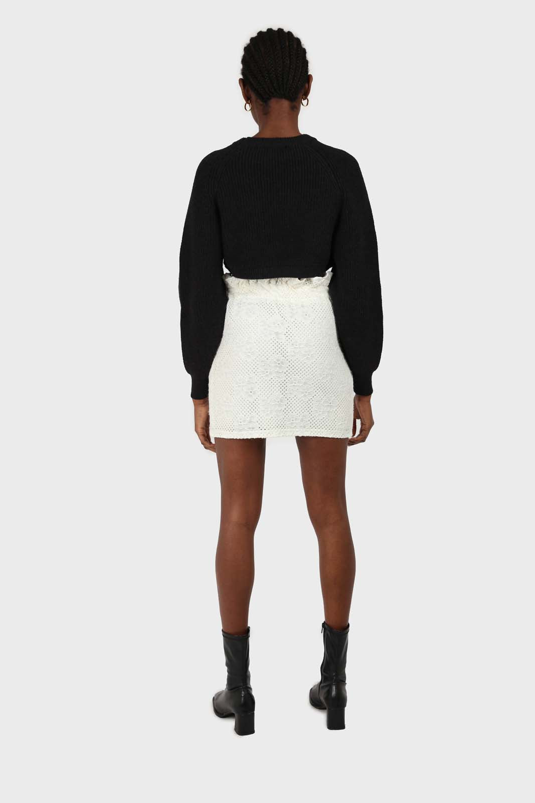 Ivory ruched waist eyelet mini skirt2