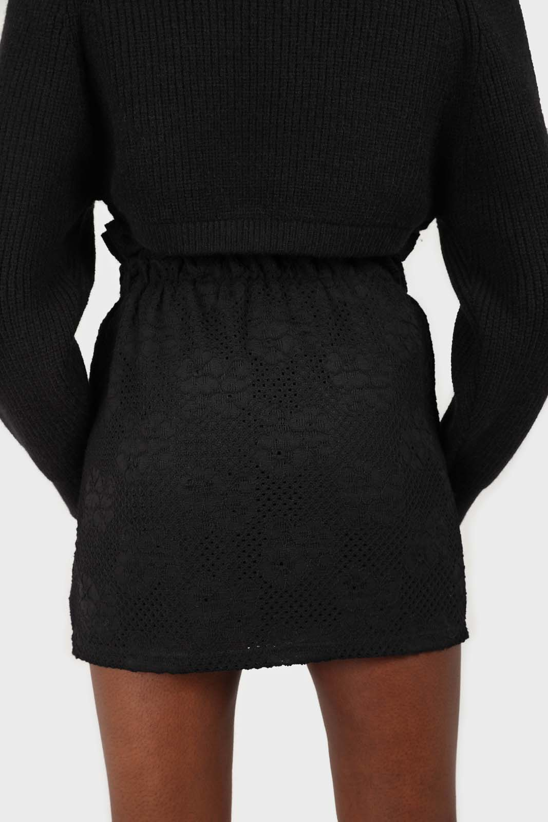 Black ruched waist eyelet mini skirt2