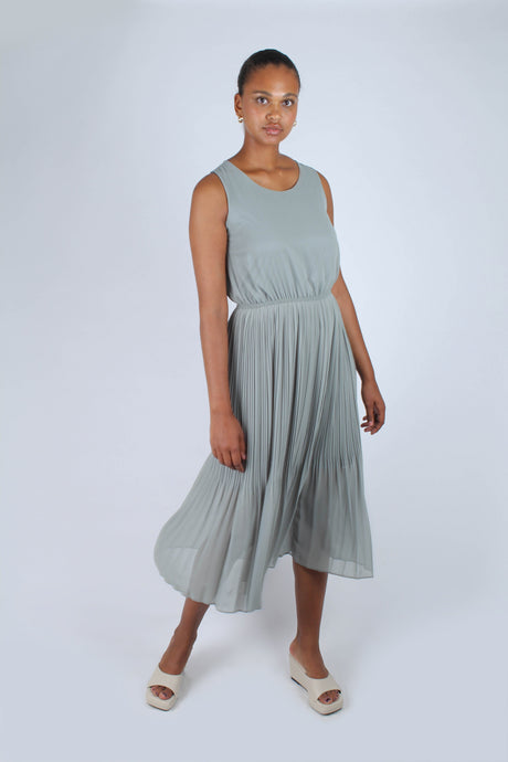 Mint silky micro pleat maxi dress_1