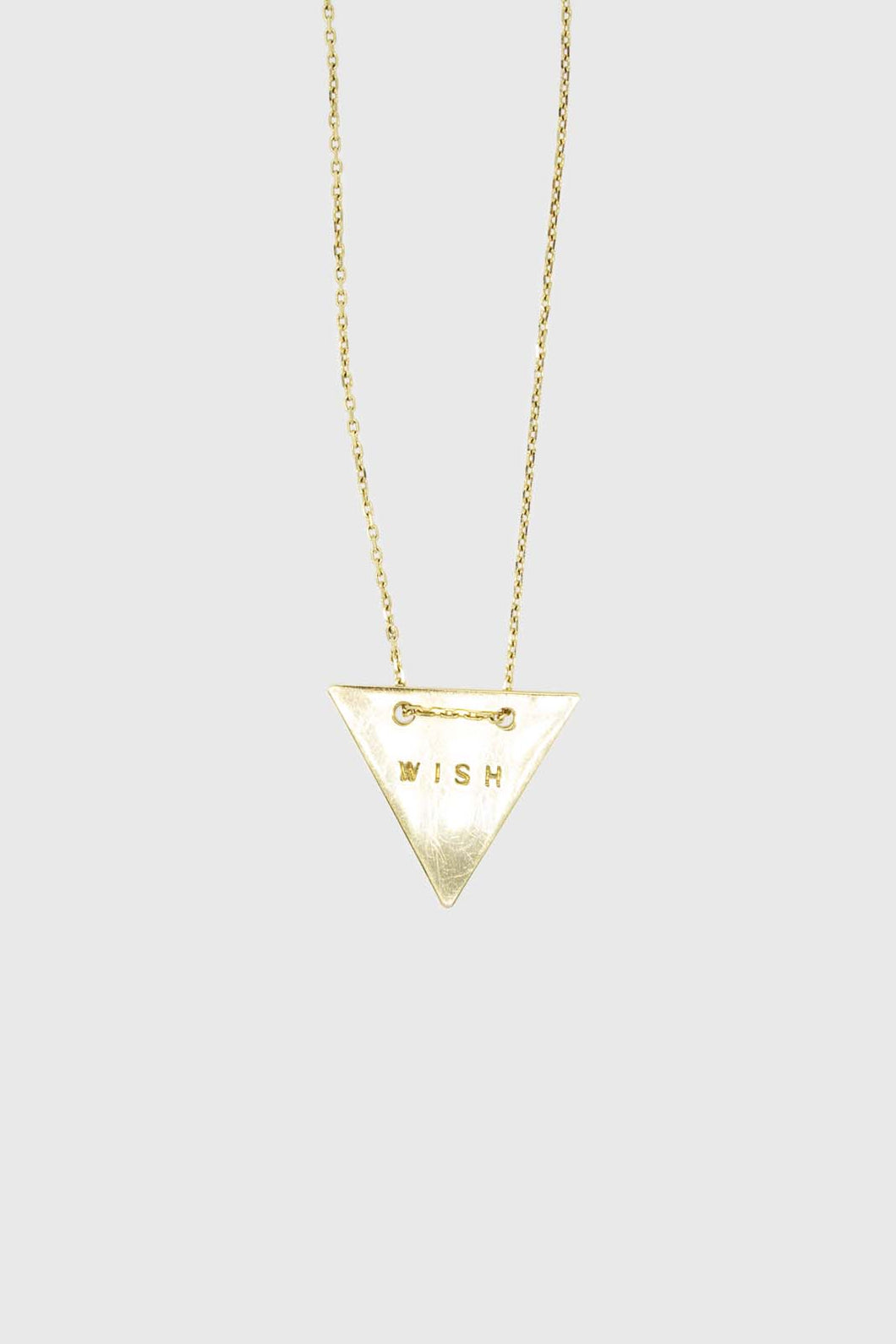 Charm necklace - Gold WISH triangle stamp pendant1