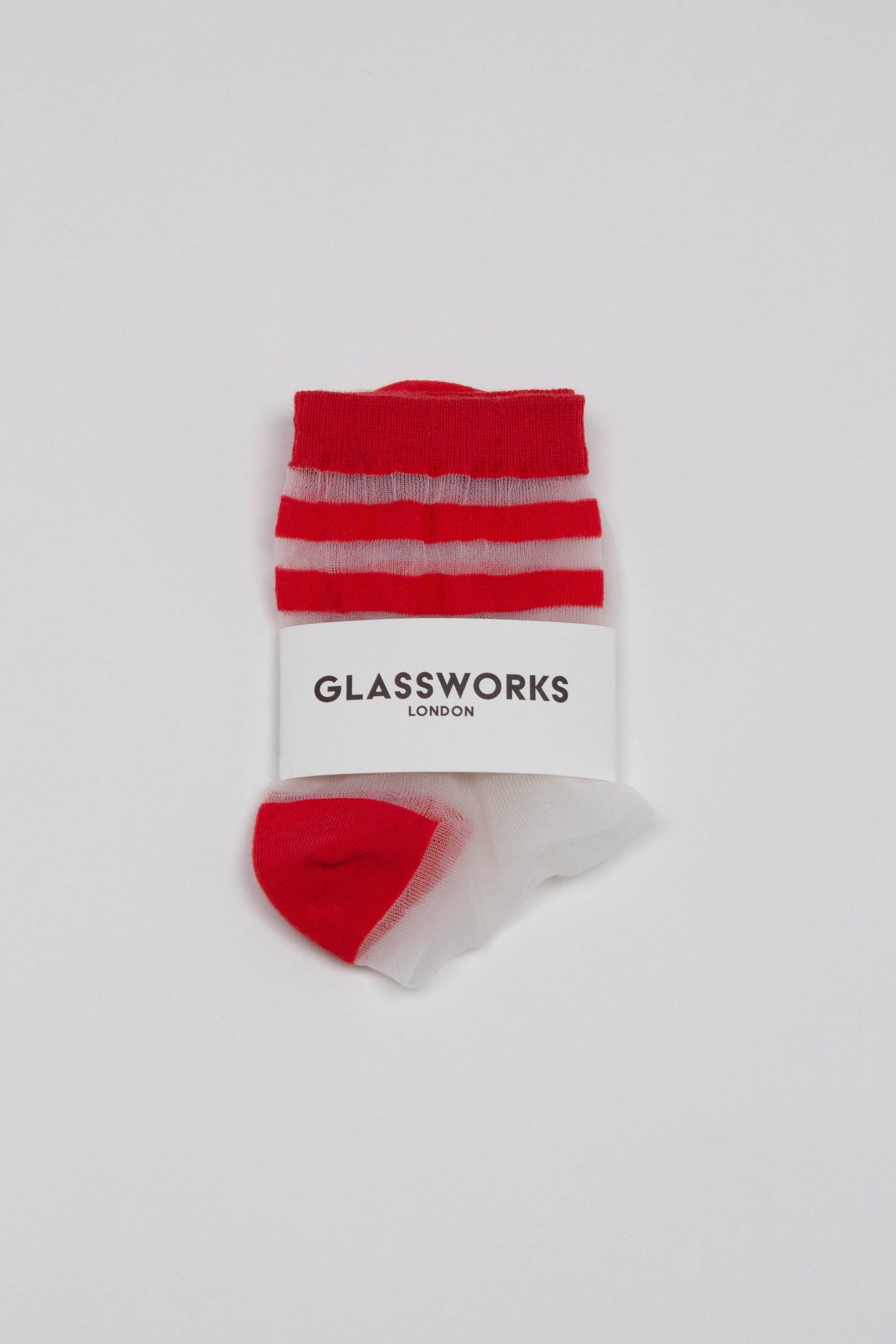 Red sheer triple stripe socks_PFFBA1