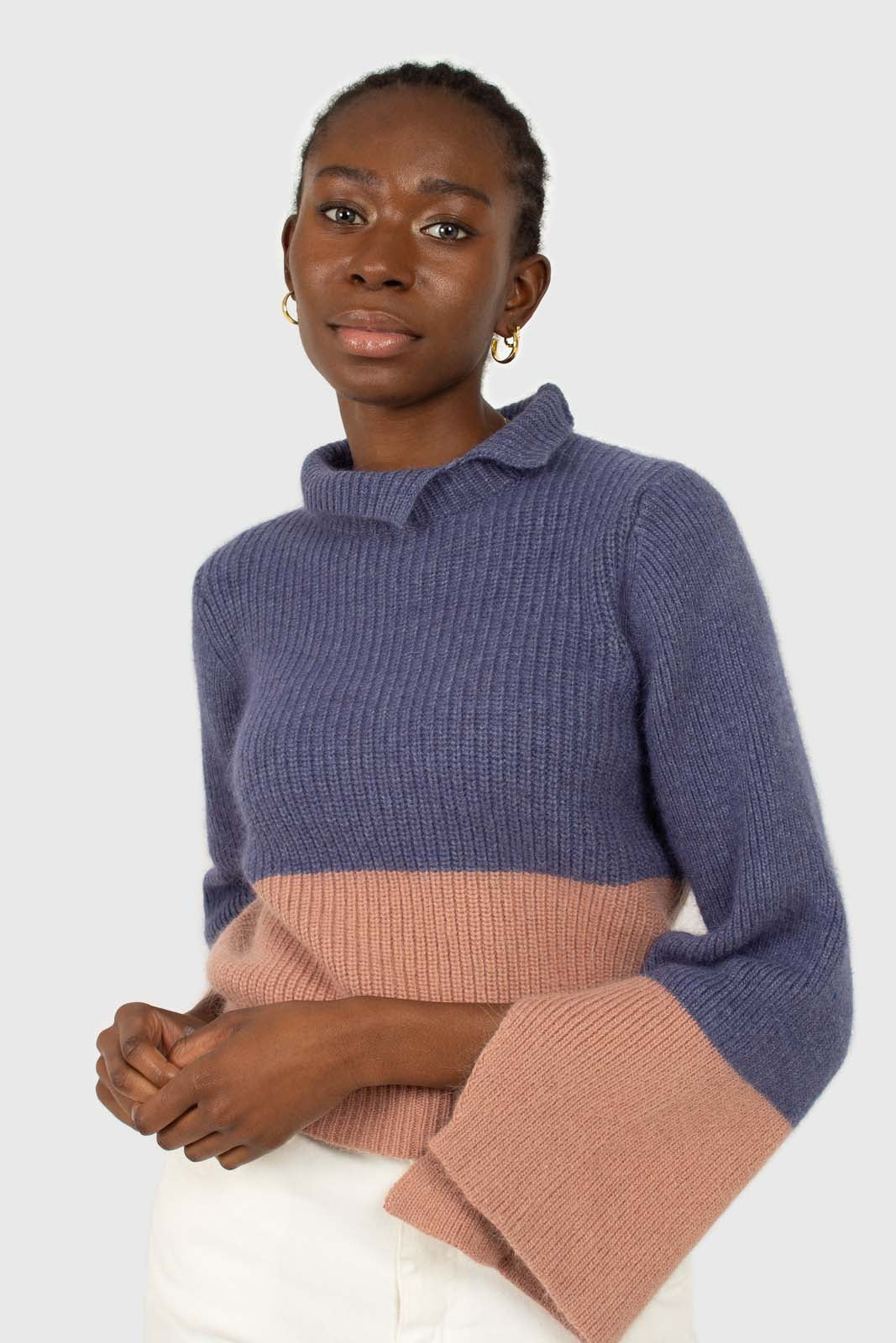 Blue and pink colorblock mock neck angora jumper1