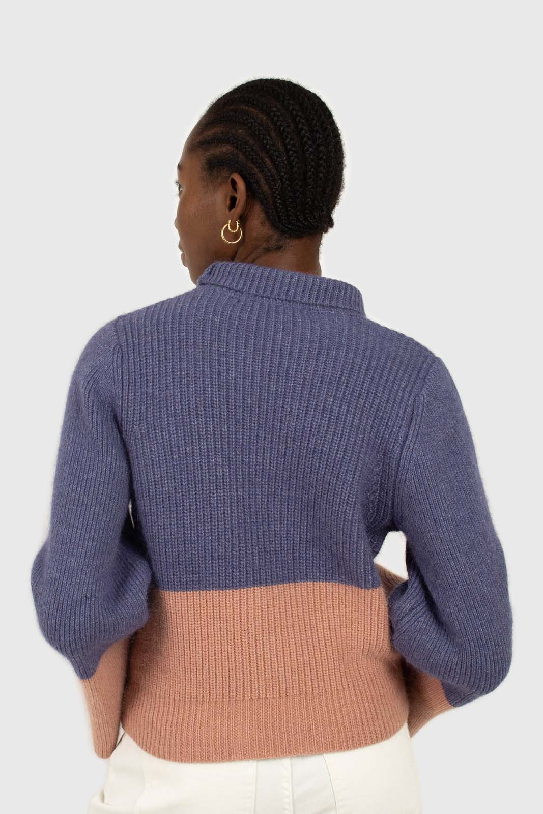 Blue and pink colorblock mock neck angora jumper3