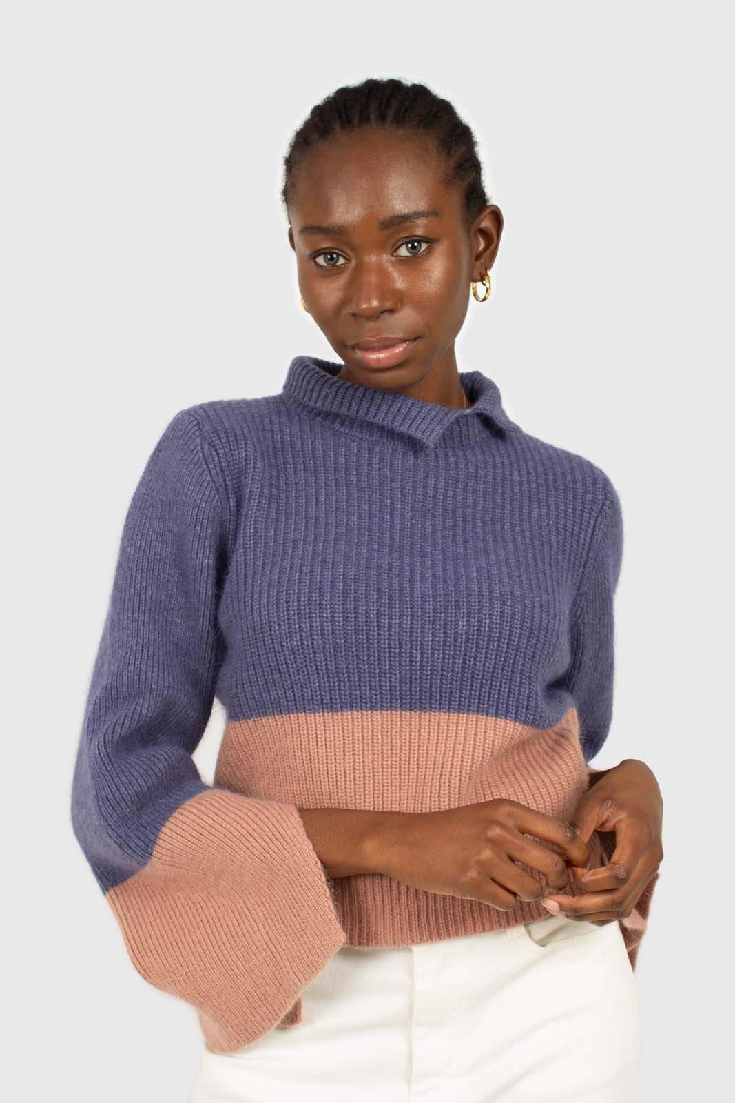 Blue and pink colorblock mock neck angora jumper5