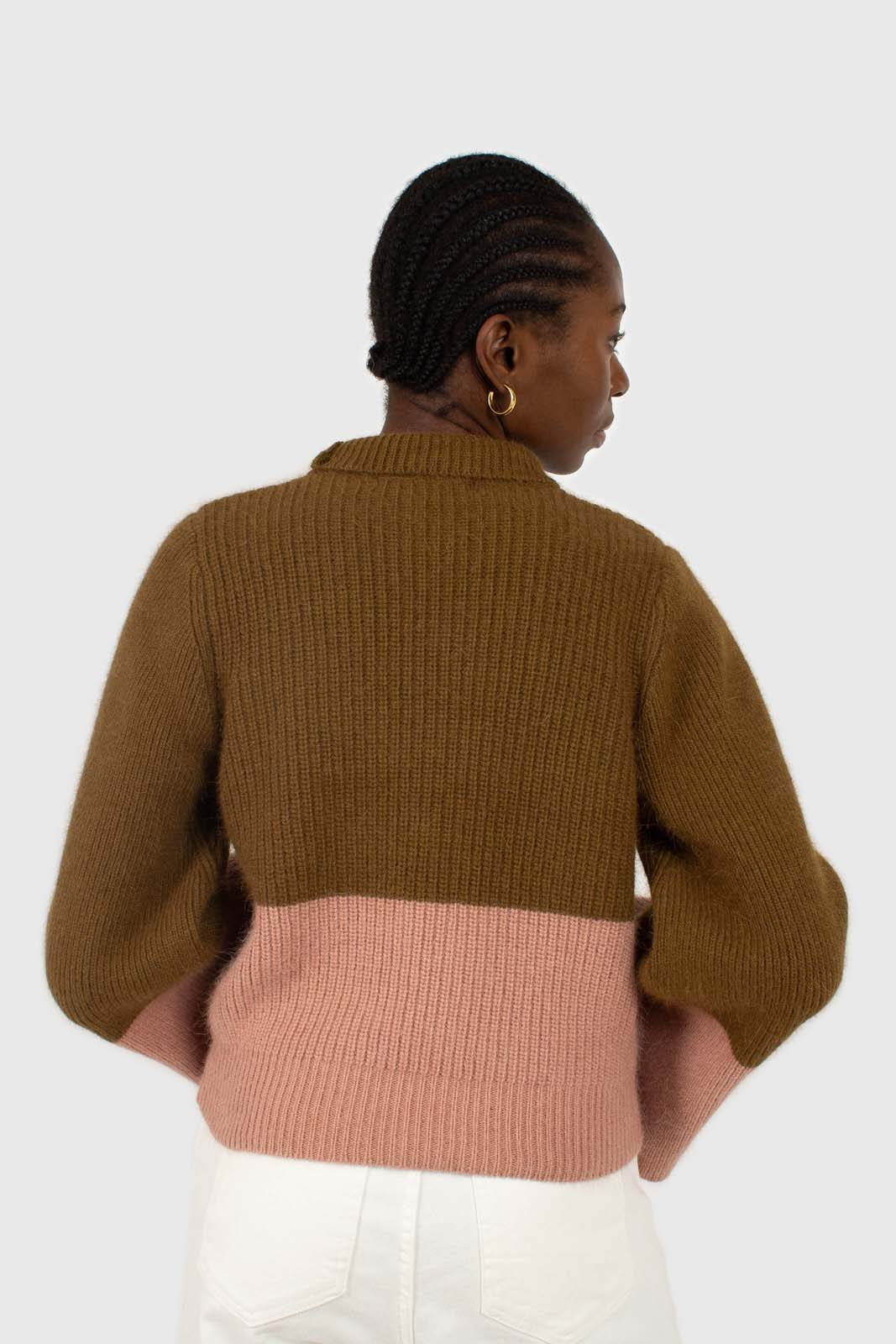 Khaki and pink colorblock mock neck angora jumper4