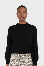 Load image into Gallery viewer, Black balloon sleeve angora jumper1sx