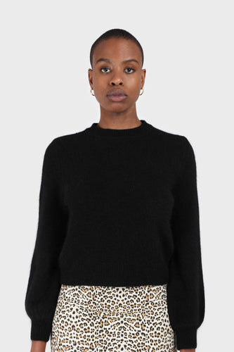 Black balloon sleeve angora jumper1sx