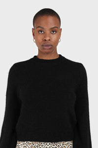Black balloon sleeve angora jumper2