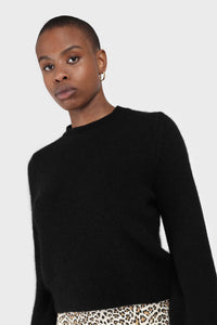 Black balloon sleeve angora jumper3
