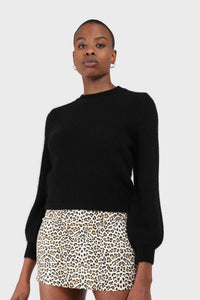 Black balloon sleeve angora jumper5
