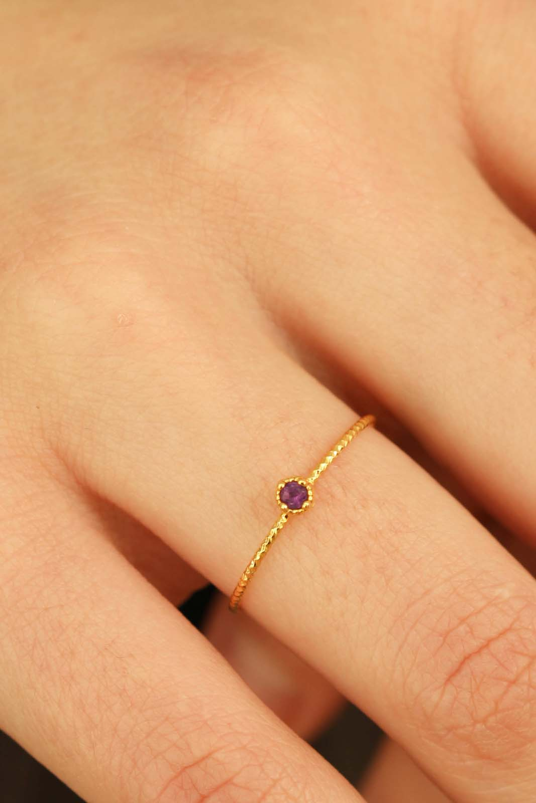 Gold genuine amethyst birthstone ring / Feb - purple1sx