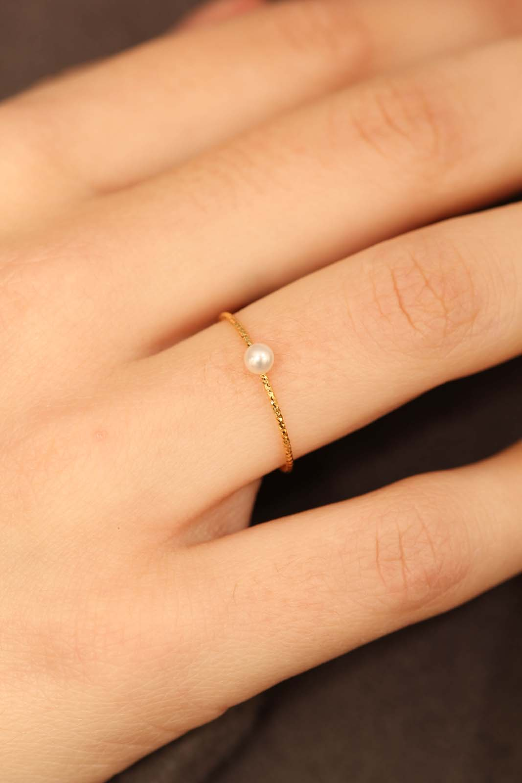 Gold pearl birthstone ring / Jun1sx