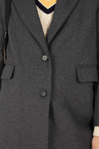 Charcoal grey single breasted wool coat