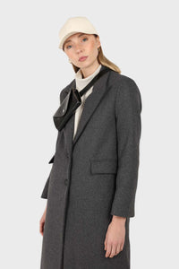 Charcoal grey single breasted wool coat3