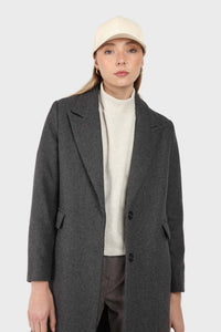 Charcoal grey single breasted wool coat5