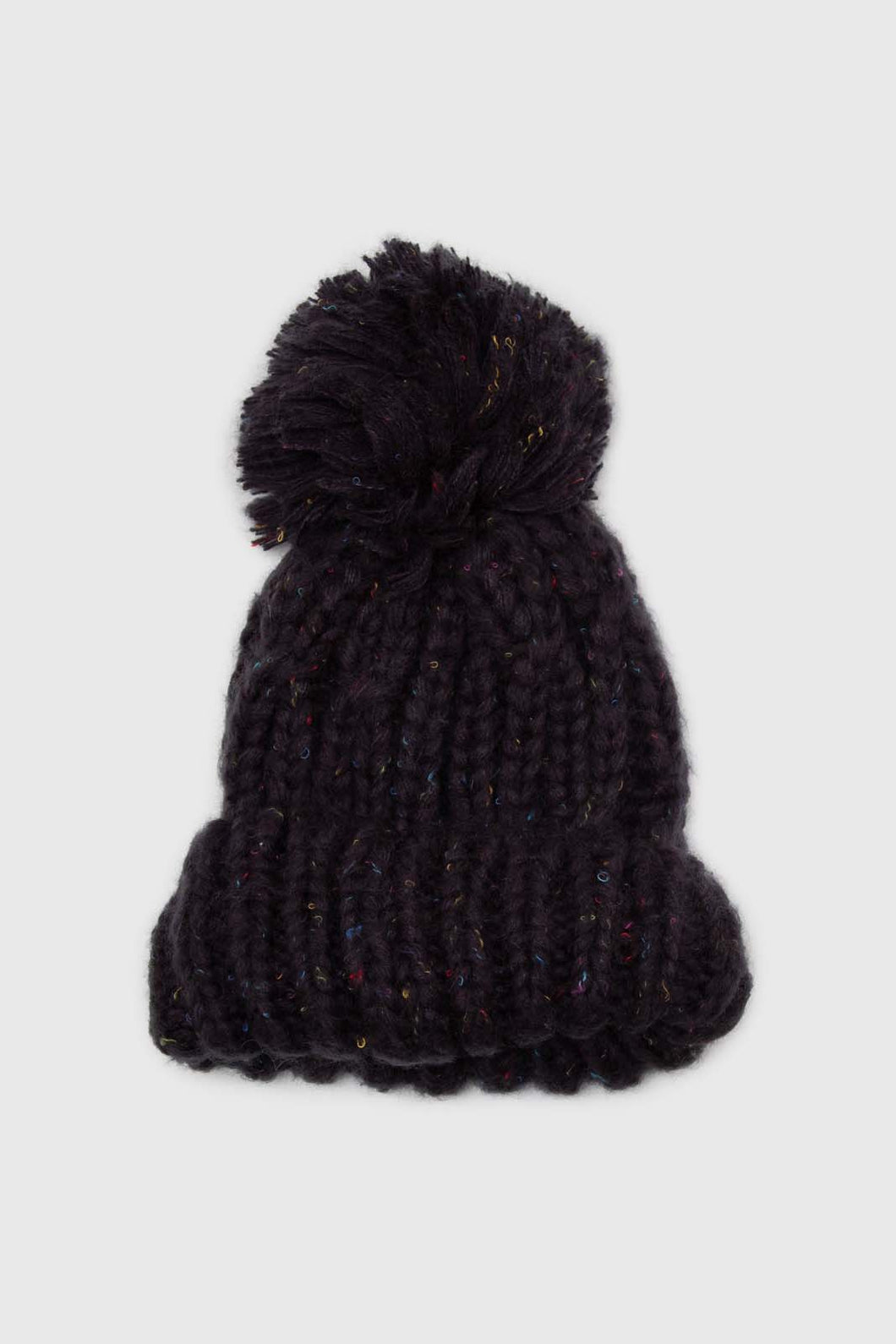Charcoal rainbow knit pom pom hat1