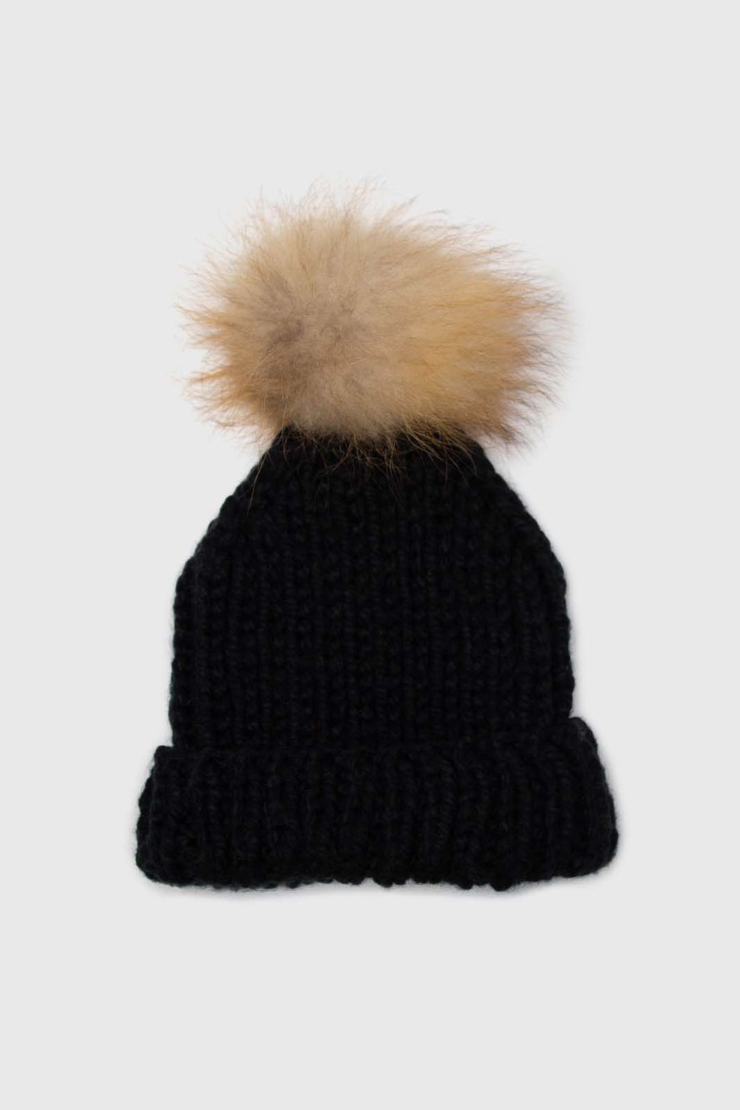 Black thick knit natural fur pop pom hat1