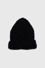 Load image into Gallery viewer, Black thick knit natural fur pop pom hat2