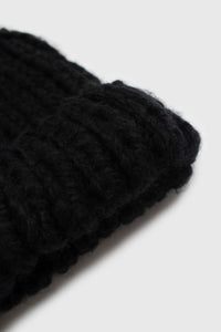 Black thick knit natural fur pop pom hat3