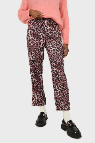 Brown leopard print trousers pajama set1sx