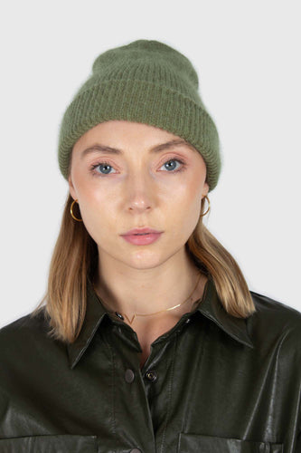 Light khaki mohair beanie hat1