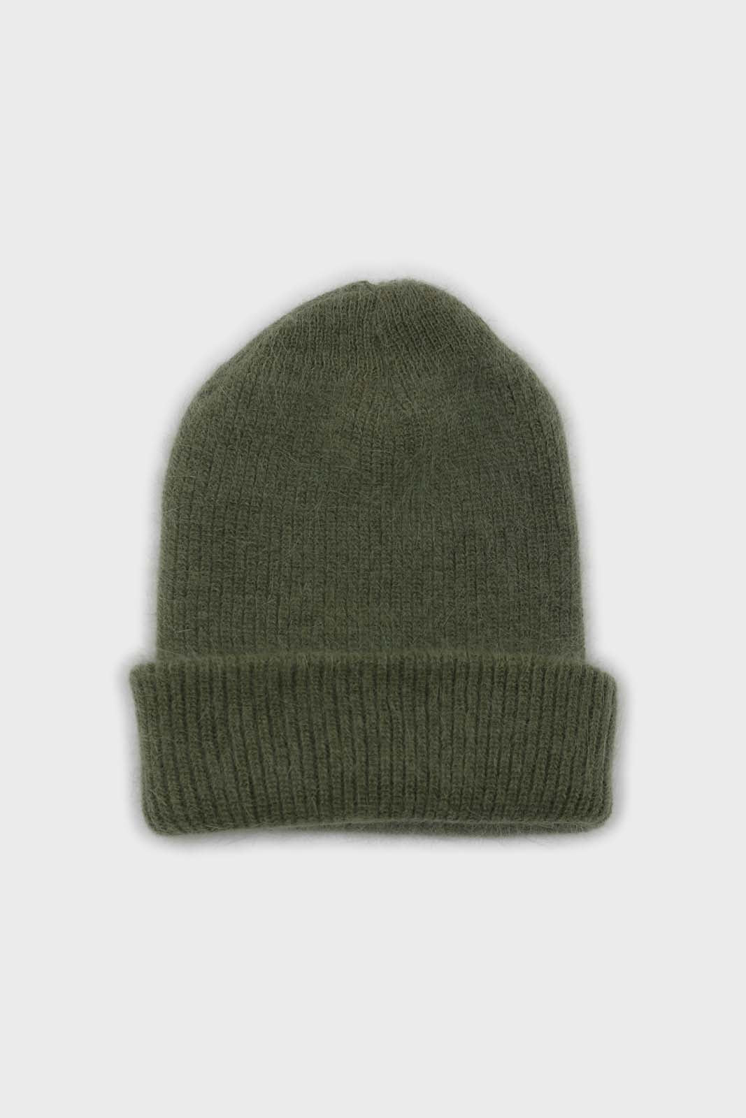 Light khaki mohair beanie hat2