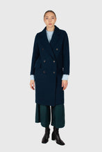 Load image into Gallery viewer, Marine blue wool double breasted coat1