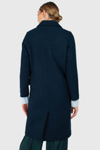 Load image into Gallery viewer, Marine blue wool double breasted coat2