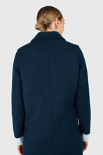 Load image into Gallery viewer, Marine blue wool double breasted coat3