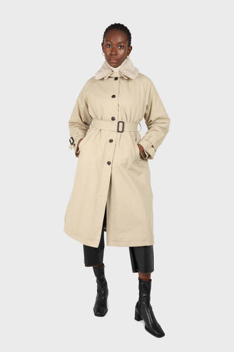 Beige faux fur collar lined trench coat1sx