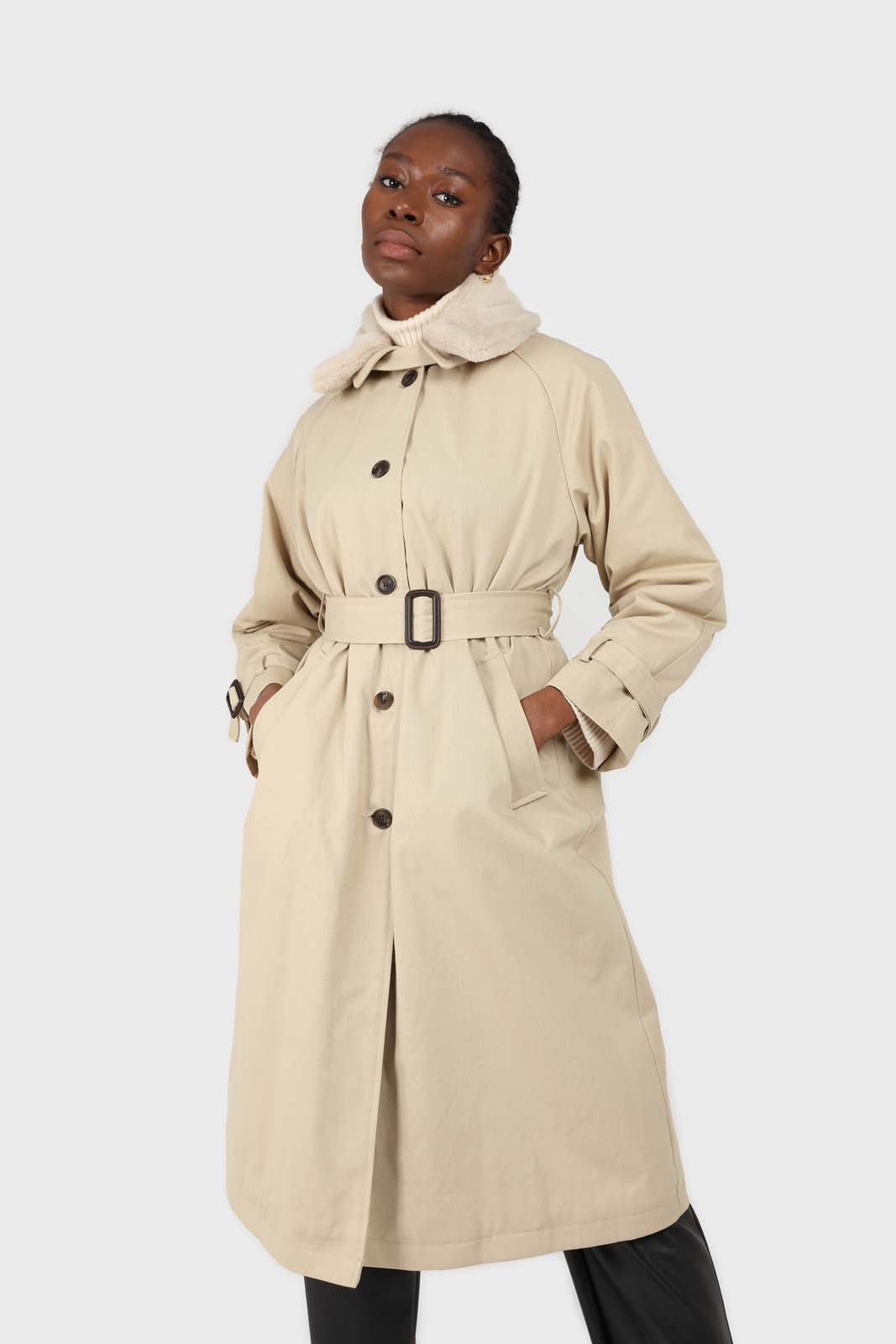 Beige faux fur collar lined trench coat2