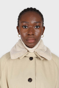 Beige faux fur collar lined trench coat4