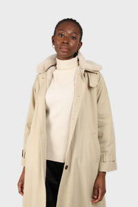 Beige faux fur collar lined trench coat5