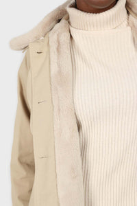 Beige faux fur collar lined trench coat6
