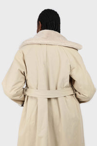 Beige faux fur collar lined trench coat7