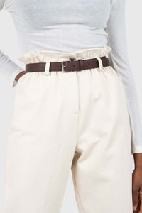 Ivory boy fit brown belted trousers2