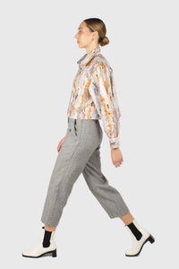 Grey herringbone belted wool trousers2