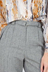 Grey herringbone belted wool trousers3